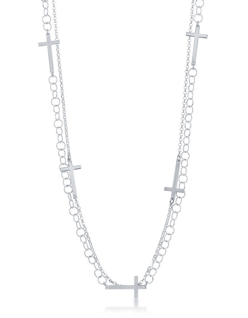 """Sterling Silver Double Strand Cross Necklace 24"""""""