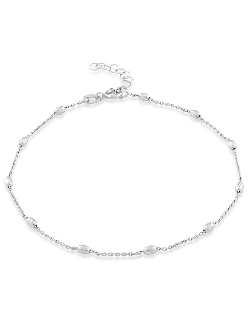 """Oval D/C Bead Anklet 9""""+1"""""""