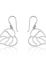 Sterling Silver Heart Leaf Earrings 25mm
