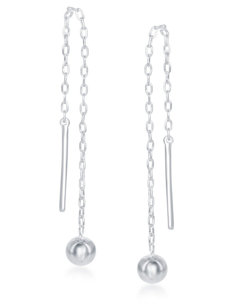 Sterling Silver 4mm Bead Ear Threader Earrings