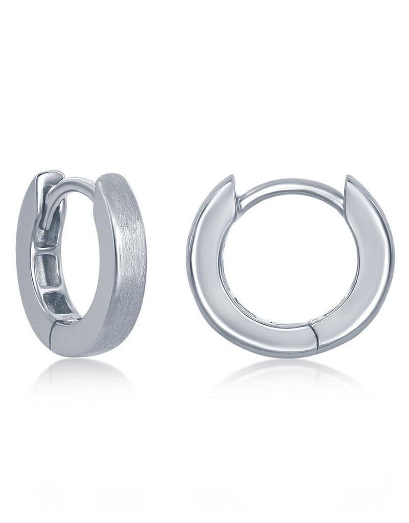 Brushed Huggie Earrings 3x13mm