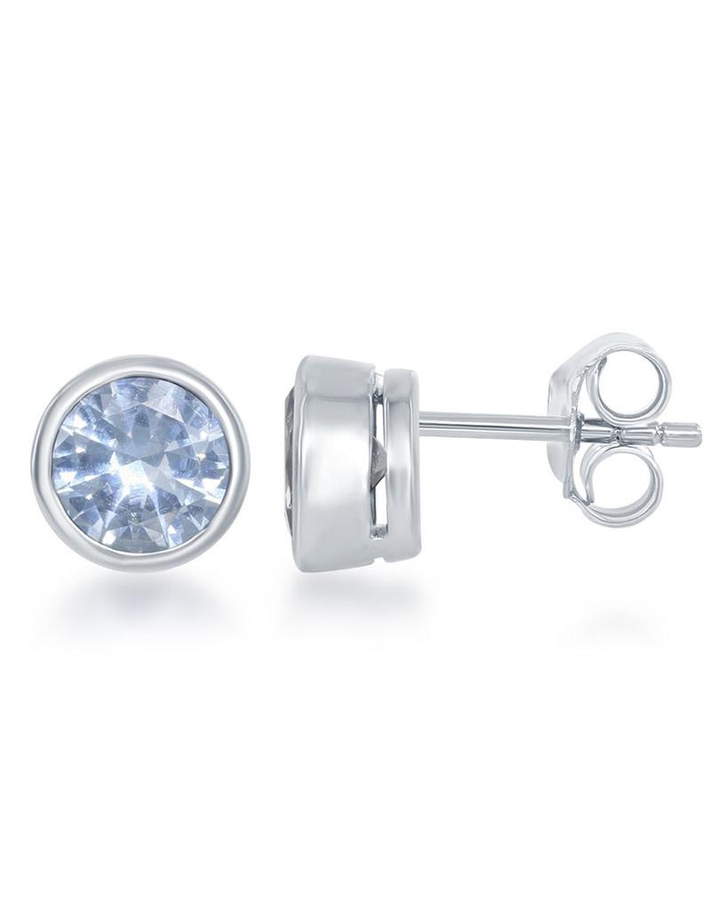 Created Aquamarine Bezel Set Stud Earrings