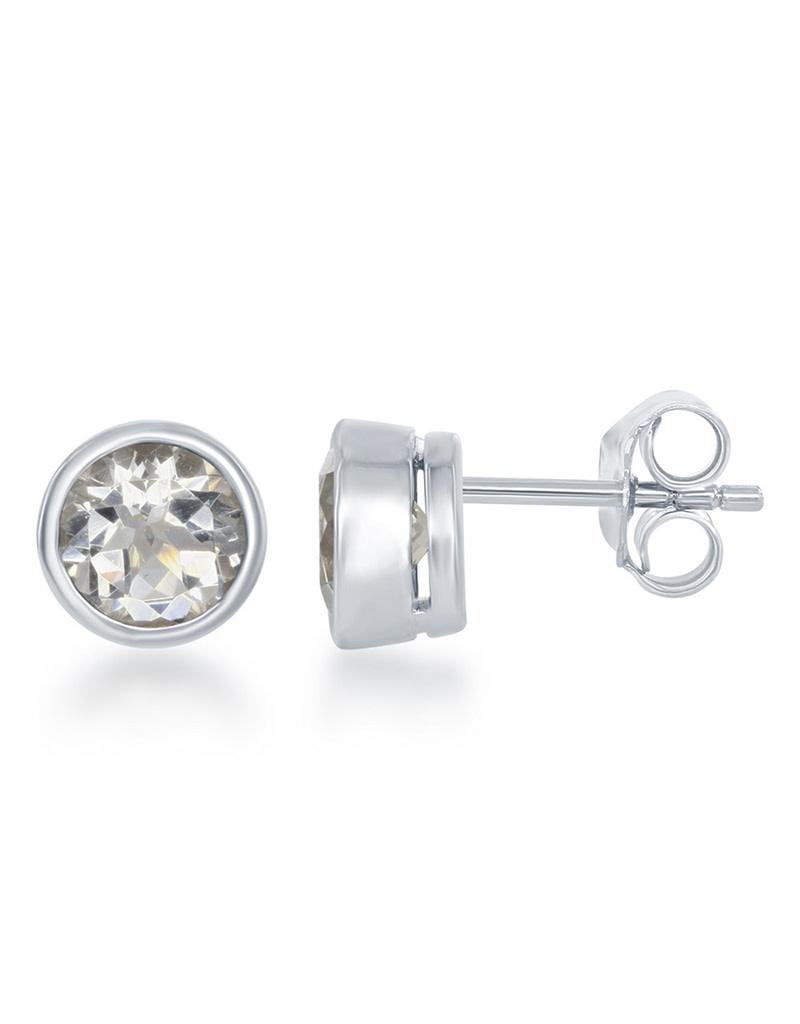 White Topaz Bezel Set Stud Earrings