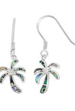 Sterling Silver Abalone Palm Tree Earrings