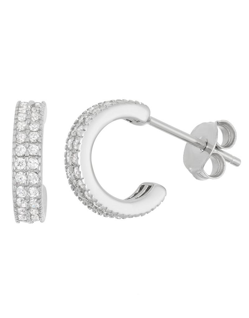 3/4 Hoop Pave CZ Post Earrings