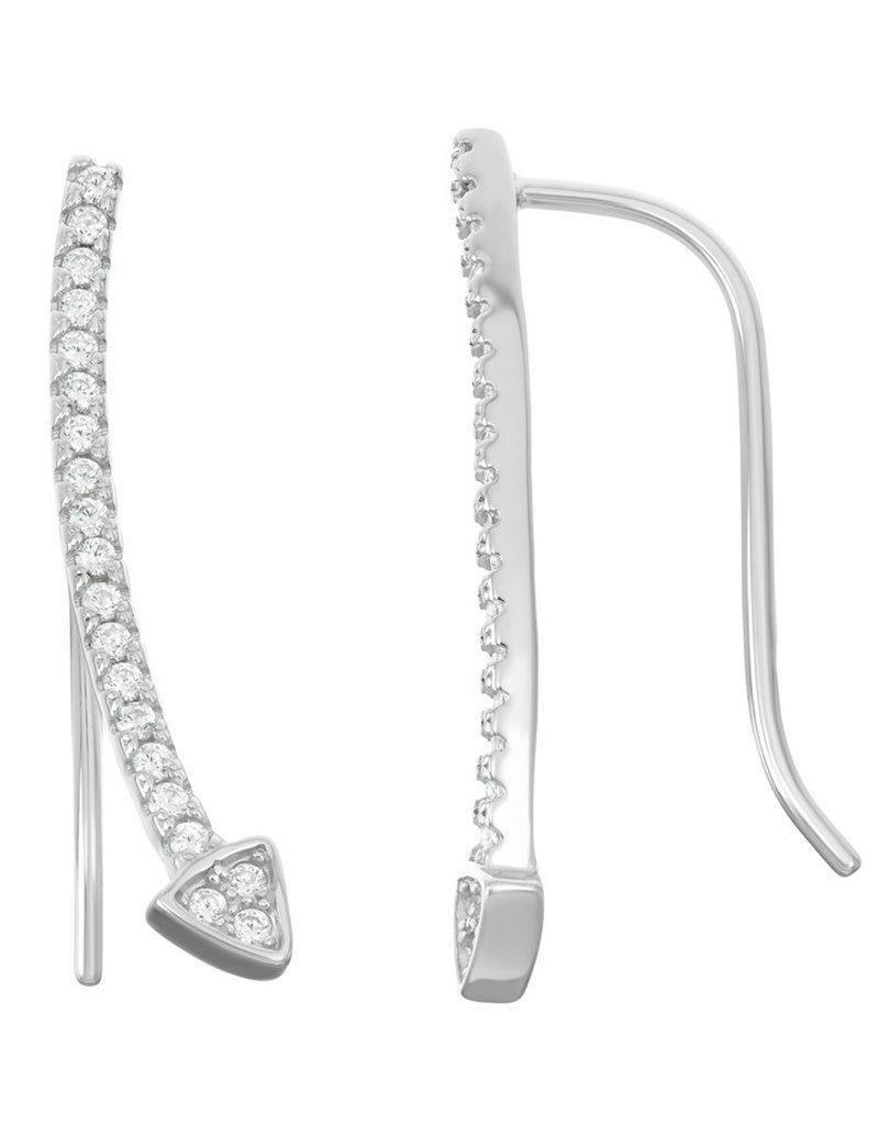 Sterling Silver Arrow Cubic Zirconia Ear Climber Earrings 24mm