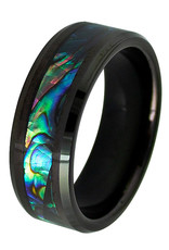Men's Abalone Inlay Tungsten Band Ring