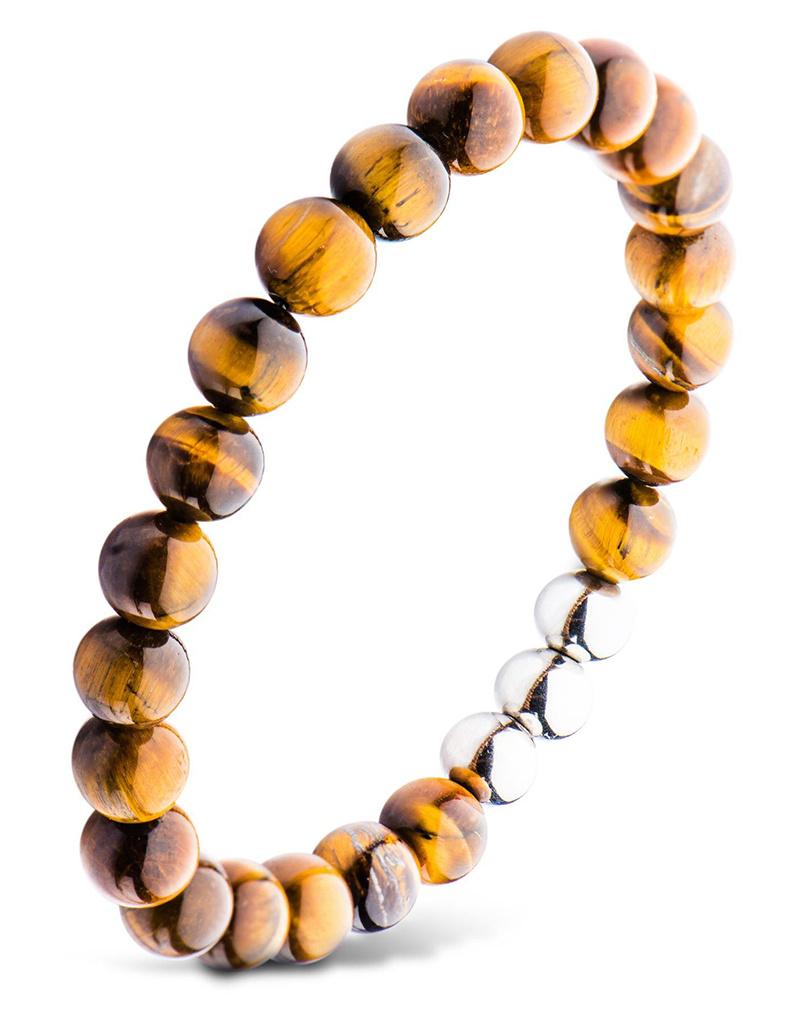 "Tiger Eye Bead Stretch Bracelet 8.5"""