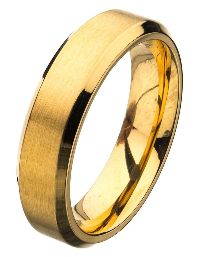 6mm Gold Steel Beveled Band