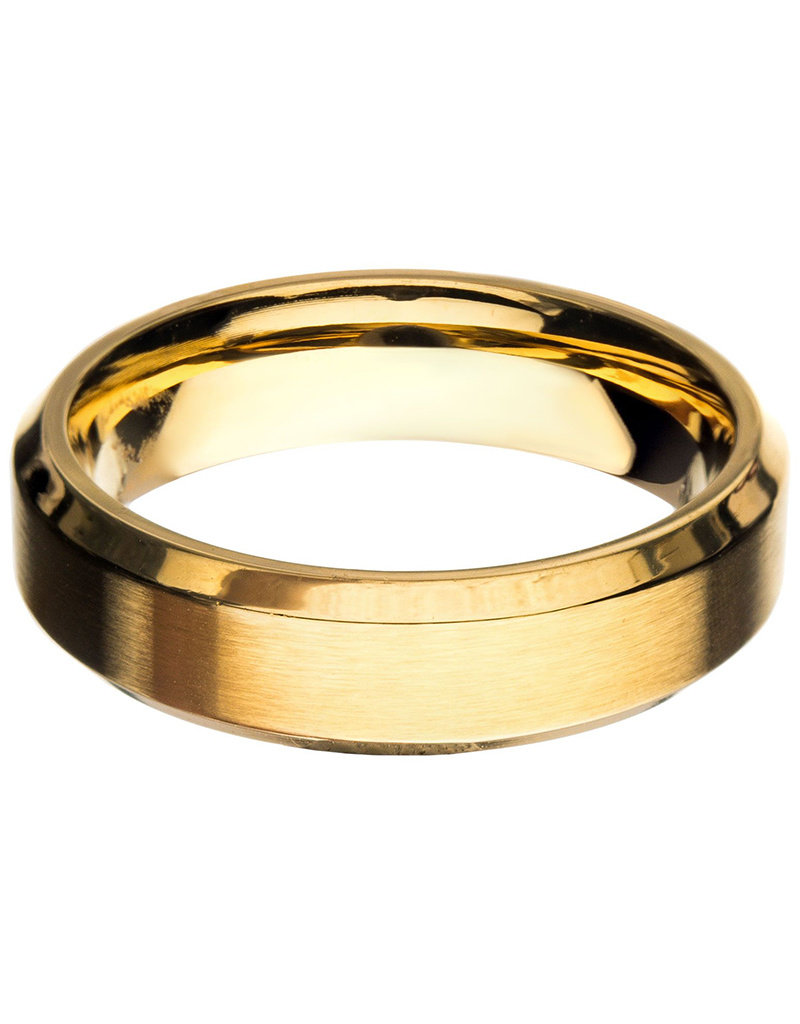 Men's 6mm Brushed Gold Stainless Steel Beveled Band Ring