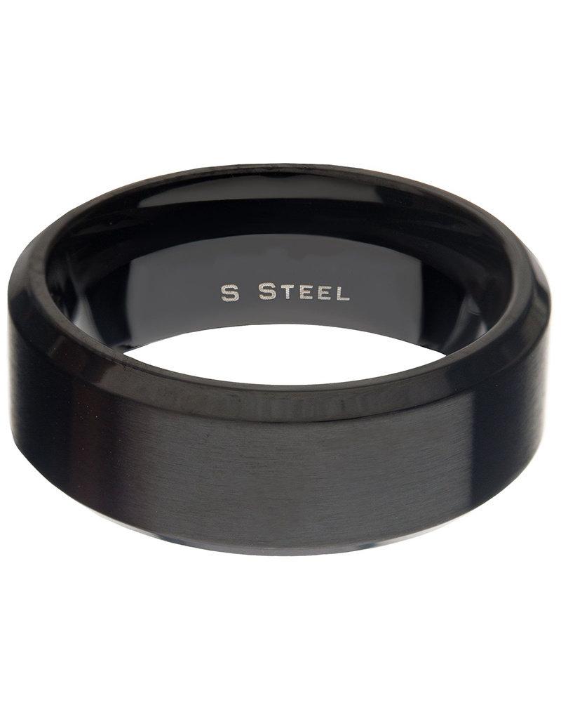 Men's 8mm Matte Black Stainless Steel Beveled Band Ring