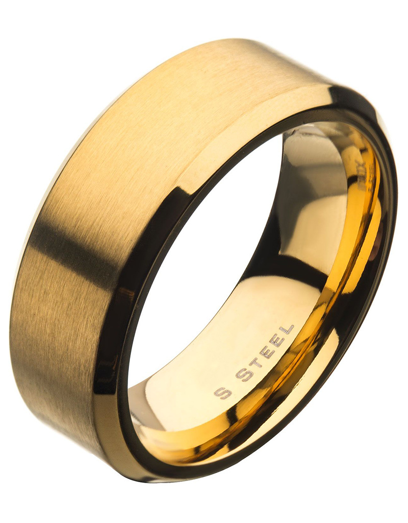 8mm Beveled Gold Steel Band