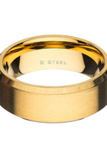 Men's 8mm Brushed Gold Stainless Steel Beveled Band Ring