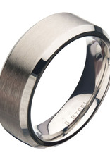 Men's 8mm Brushed Stainless Steel Beveled Band Ring