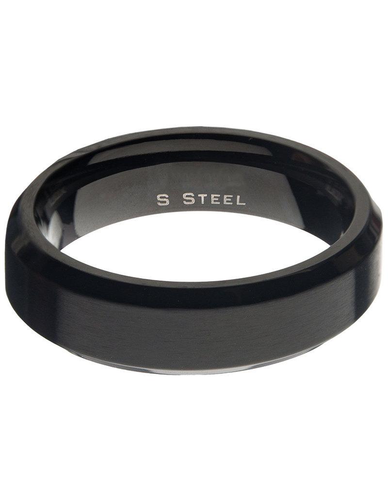 Men's 6mm Matte Black Stainless Steel Beveled Band Ring