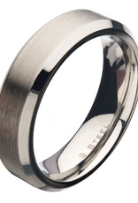 Men's 6mm Brushed Stainless Steel Beveled Band Ring