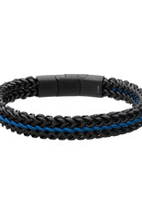 """Men's Black Stainless Steel Foxtail Link and Blue Wax Cord Bracelet 8.25"""""""