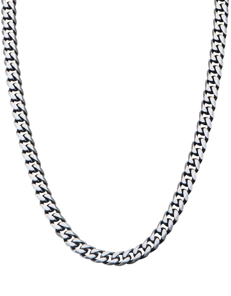Men's 8.7mm Gunmetal Stainless Steel Curb Link Chain Necklace