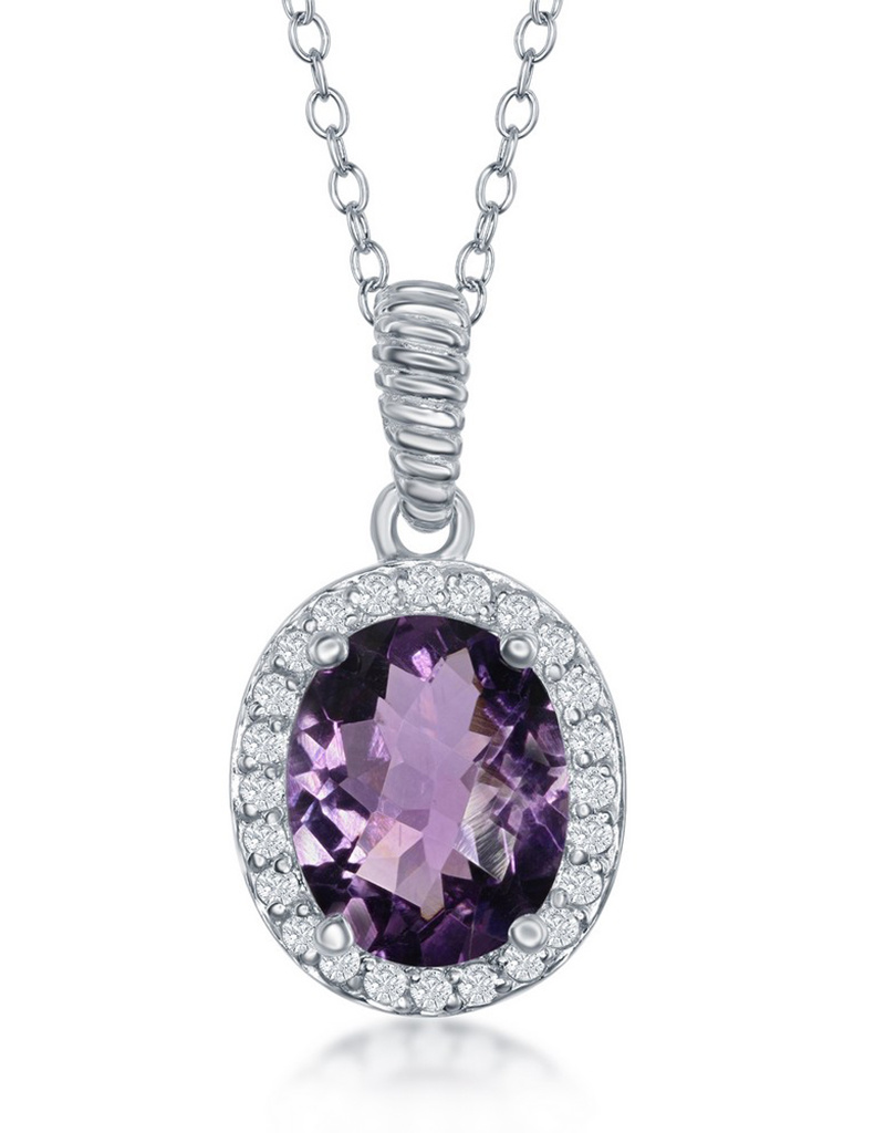 Oval Amethyst Necklace