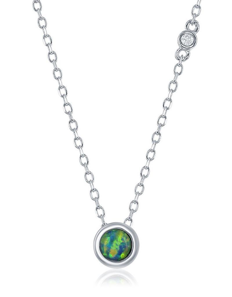 5mm Bezel Set Opal Necklace