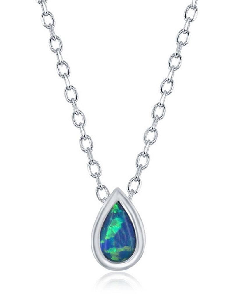 """Sterling Silver 7mm Opal Teardrop Necklace 16""""+2"""""""