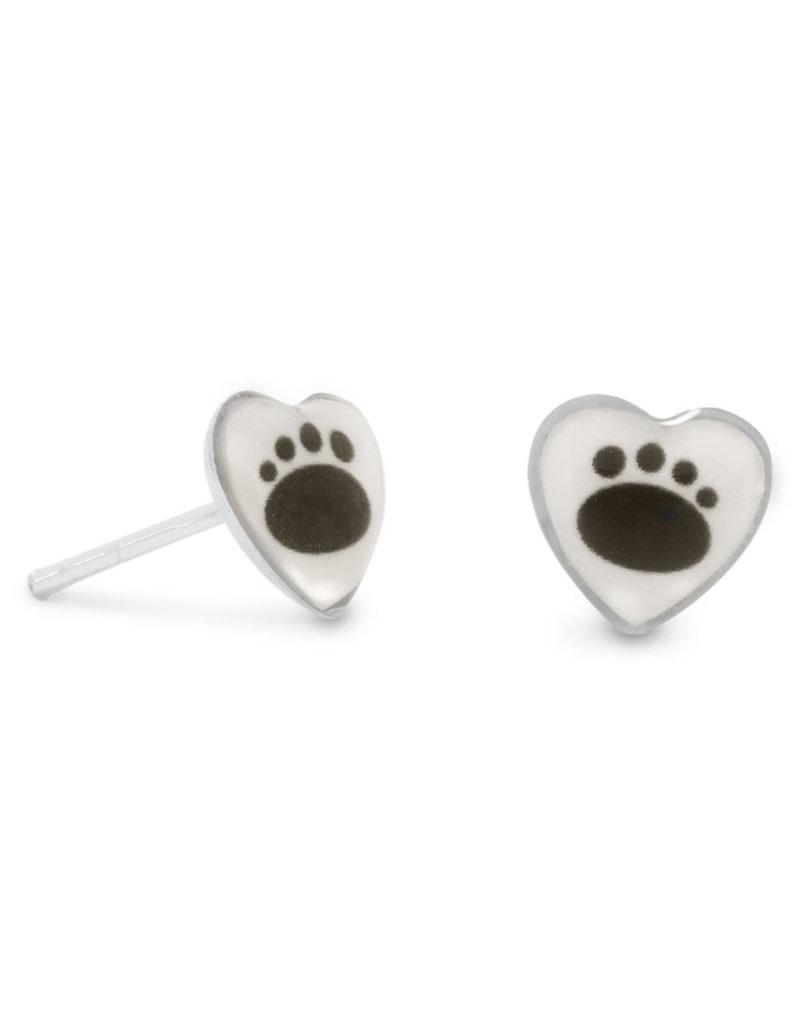 Heart Paw Print Stud Earrings