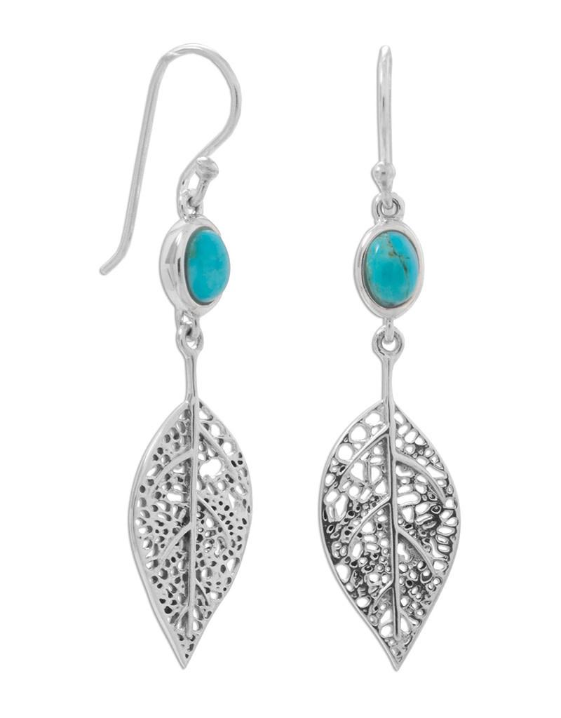 Oval Turquoise Leaf Earrings