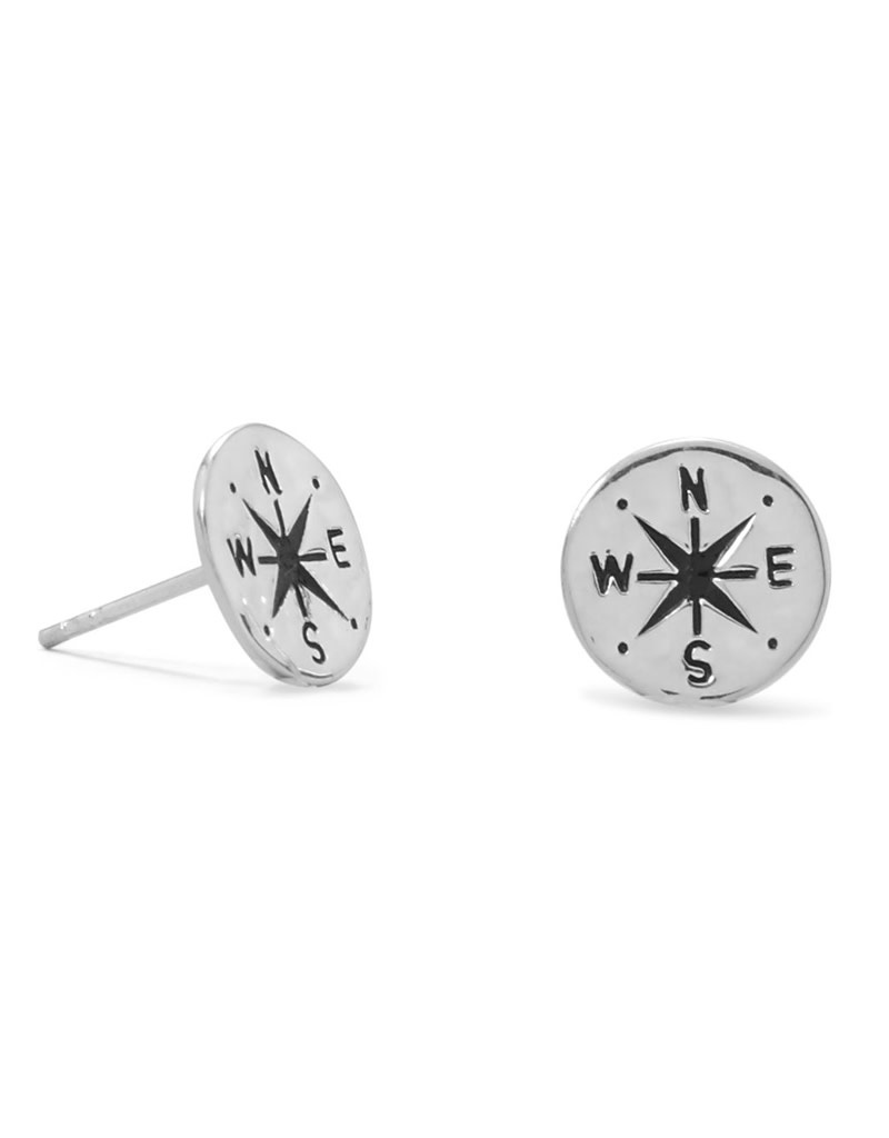 Hammered Compass Stud Earrings