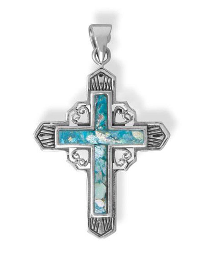 Roman Glass Cross Pendant