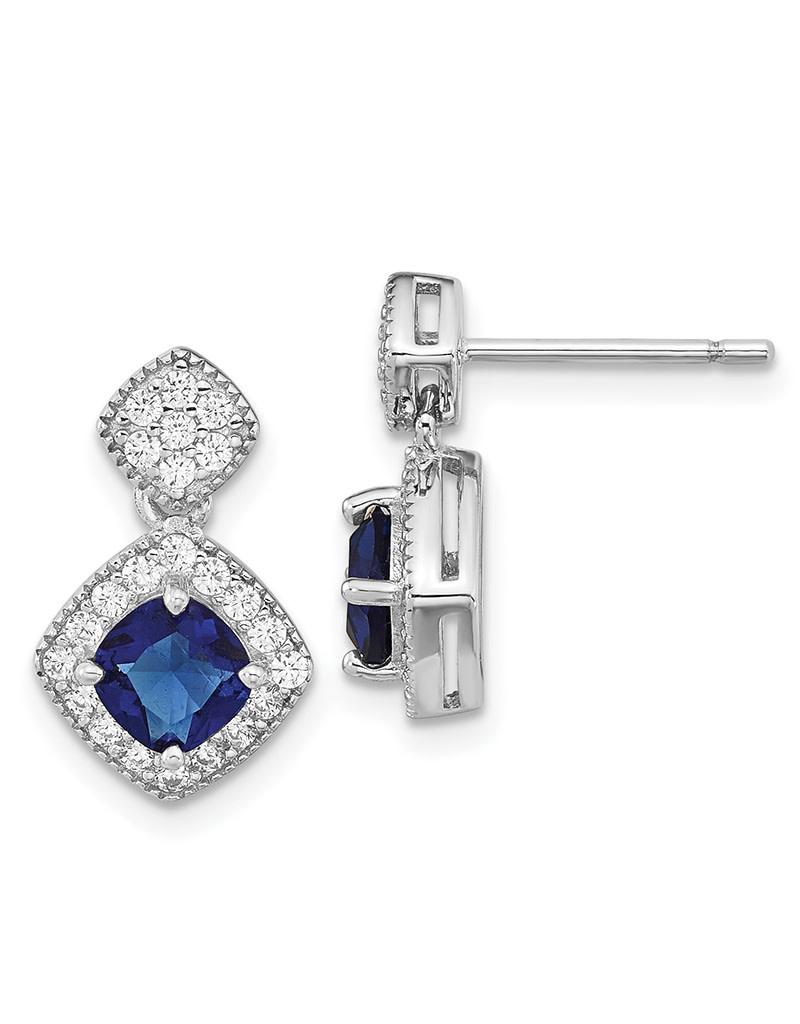 Blue CZ Dangle Post Earrings