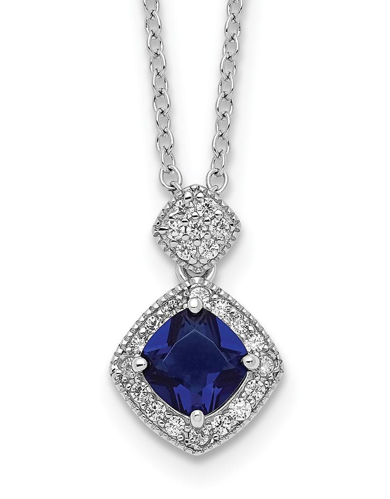 Cushion Blue CZ Necklace