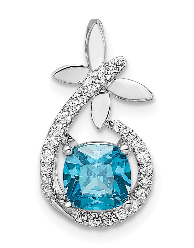 Blue CZ Butterfly Necklace
