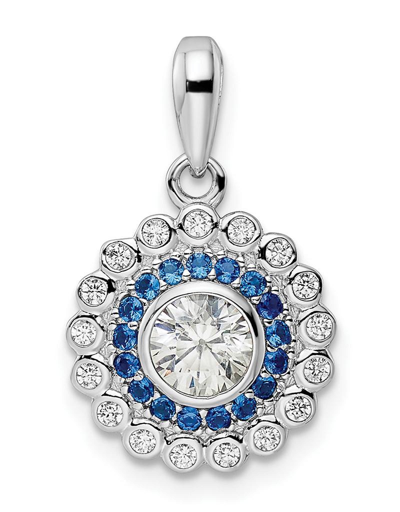Blue & White CZ Necklace