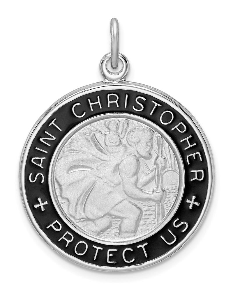 St. Christopher Black Enamel Medal