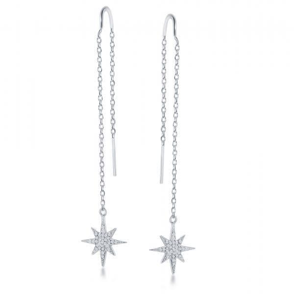 Star CZ Threader Earrings