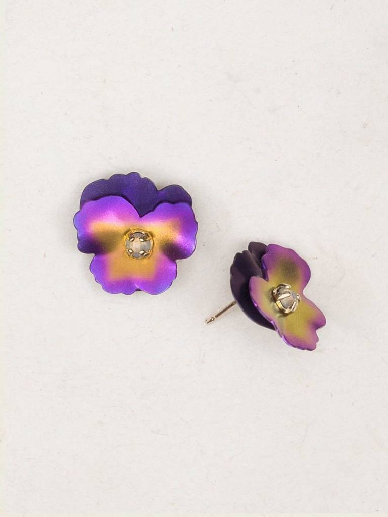 HOLLY YASHI Purple Pansy Post Earrings *17806