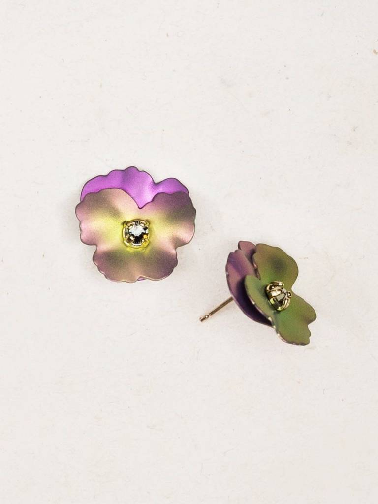 HOLLY YASHI Pink Pansy Post Earrings *17804