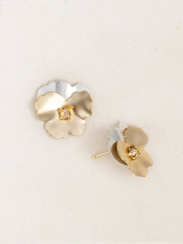 HOLLY YASHI Gold Silver Pansy Post Earrings *17802