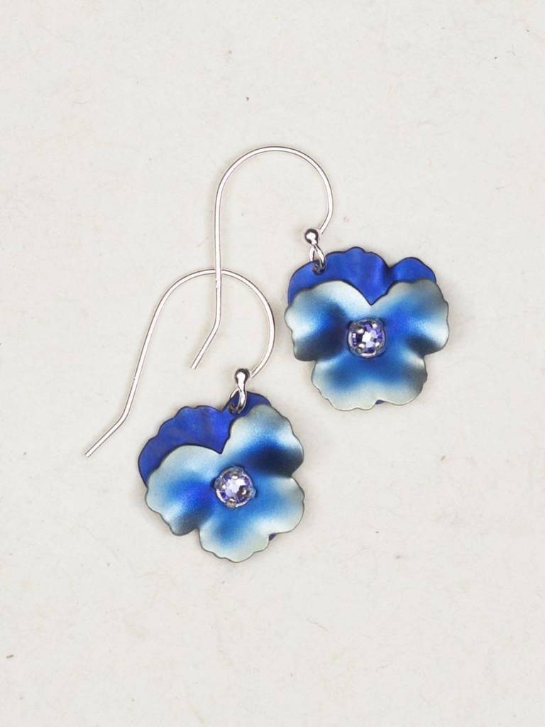 HOLLY YASHI Blue Pansy Earrings *17808