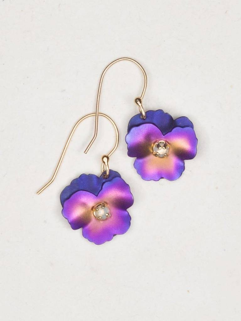 HOLLY YASHI Purple Pansy Earrings *17807