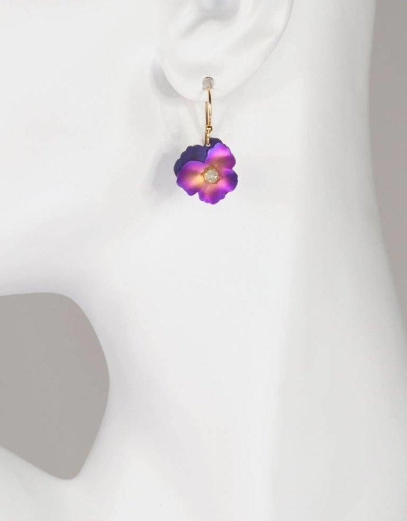 HOLLY YASHI Holly Yashi Purple Pansy Earrings *17807