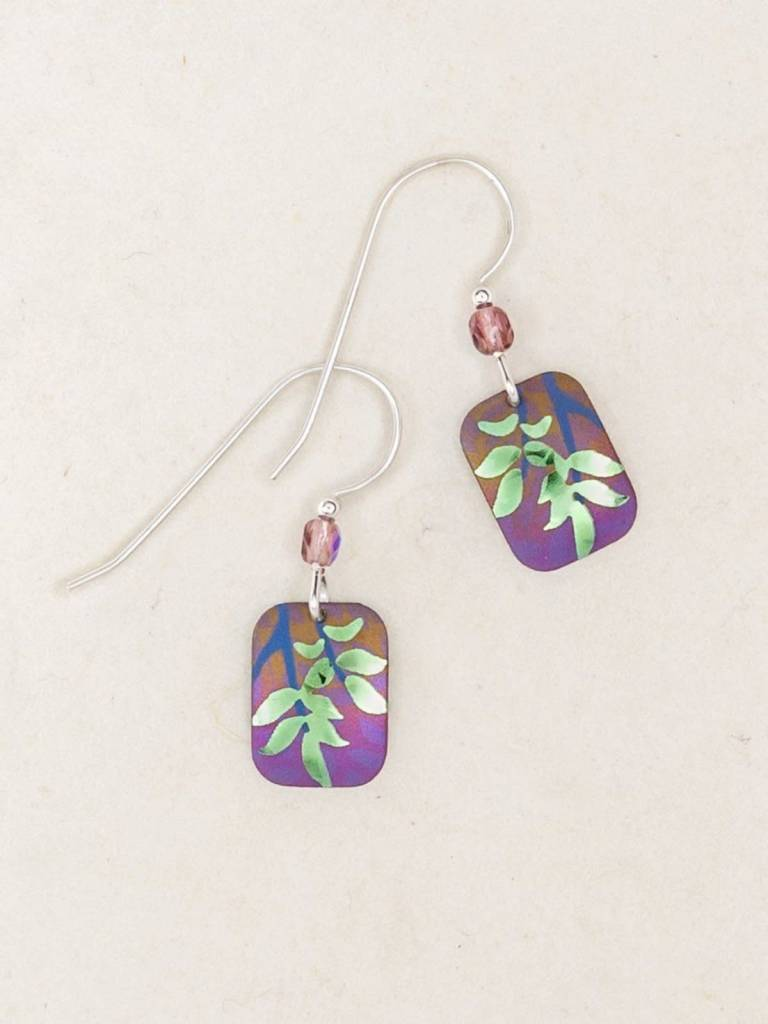 HOLLY YASHI Purple Evergreen Leaf Earrings *5034