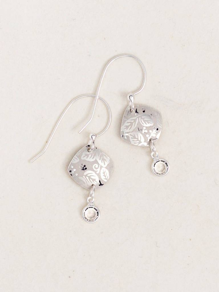 HOLLY YASHI Silver Square Leaf Earrings *9112