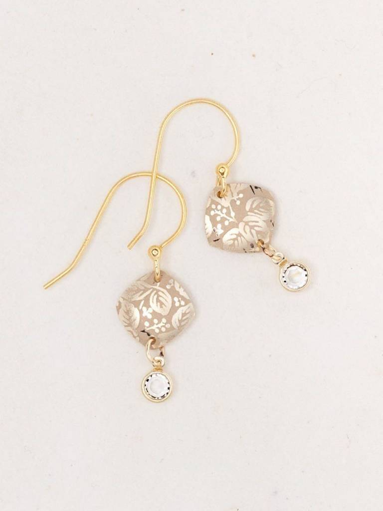 HOLLY YASHI Gold Square Leaf Earrings *9111