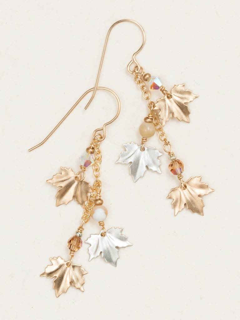 HOLLY YASHI Gold Maple Leaf Earrings *17914