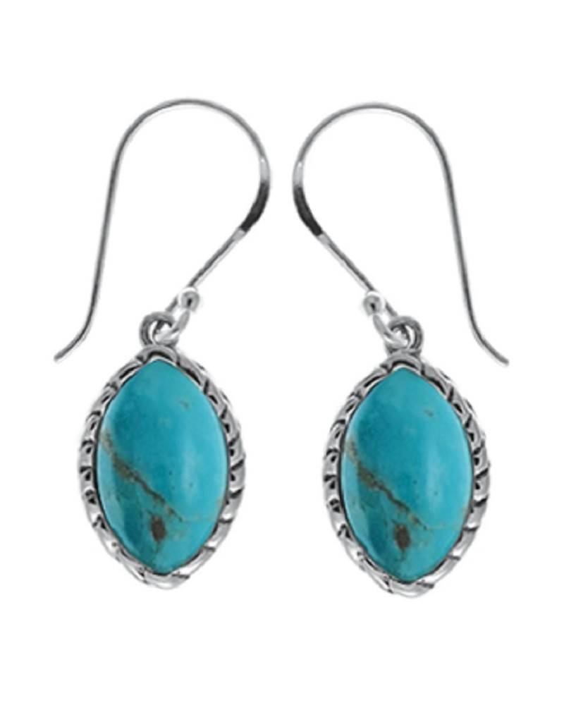 Marquise Turquoise Earrings 14mm