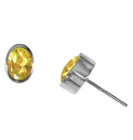 Oval Citrine Stud Earrings 7mm