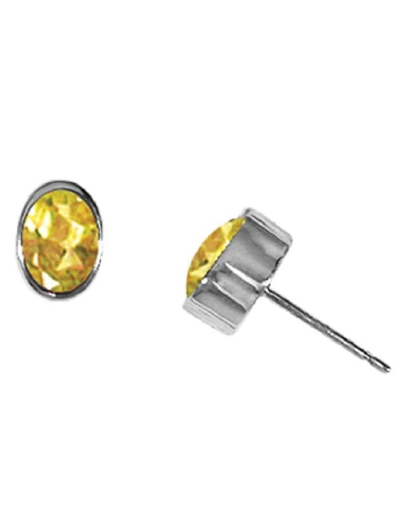 Sterling Silver Oval Citrine Stud Earrings 7mm
