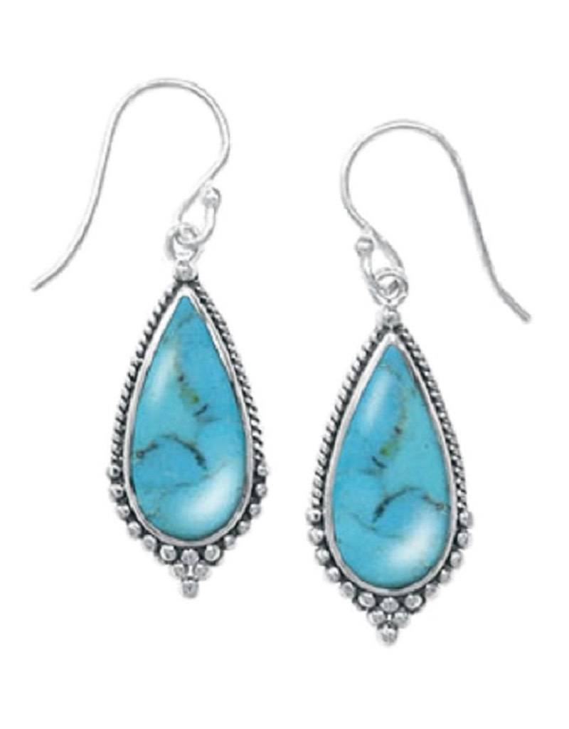 Teardrop Turquoise Earrings 24mm