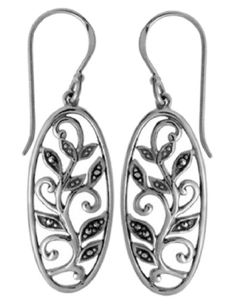 Oval Vine Marcasite Earrings 25mm